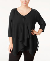 NY Collection Plus Size Draped Handkerchief-Hem Top