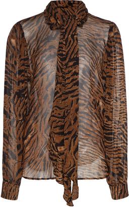 Ganni Tie-Detailed Animal-Print Georgette Top