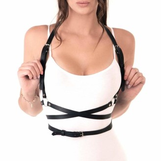 Yelos Women's Punk Waist Belt Body Chain Faux Leather Harness Adjustable with Buckles and O-Rings