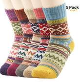 Clearance! Zando 5 Pairs Womens Cabin Winter Warm Thick Knit Wool Cozy Crew Socks Casual Vintage Style Mid Calf Socks