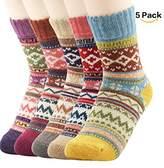 Clearance! Zando Pack of 5 Womens Vintage Style Thick Wool Warm Winter Cabin Crew Socks Retro Mid Calf Socks