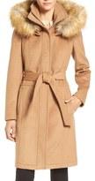 Ivanka Trump Wool Blend Coat with Removable Faux Fur Trim Hood
