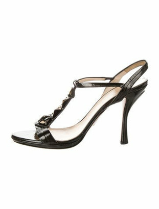 Prada Patent Leather Beaded Accents T-Strap Sandals Black