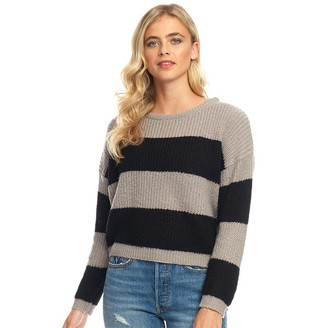 Fluid Womens Striped Sweater Grey Marl/Black