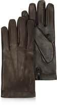 Moreschi Siberia Dark Brown Leather Men's Gloves w/Cashmere Lining