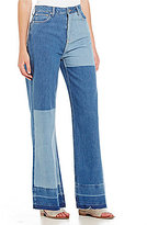 Free People High-Rise Patchwork Wide Leg Jeans