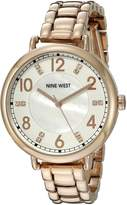 Nine West Women's NW/1732WMRG Swarovski Crystal Accented Rose Gold-Tone Bracelet Watch