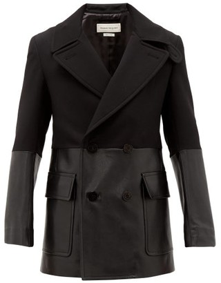 Alexander McQueen Contrast-panel Wool And Leather Short Trench Coat - Mens - Black