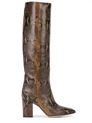 Paris Texas Faux Python Knee High Heeled Boots