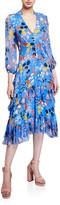Shoshanna Mireya Floral-Print Midi Ruffle Dress