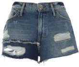River Island Womens Blue authentic ripped patchwork denim shorts