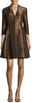 Akris Metallic 3/4-Sleeve Trench Dress, Brown