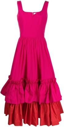 Alexander McQueen Two-Tone Tiered Ruffle Dress