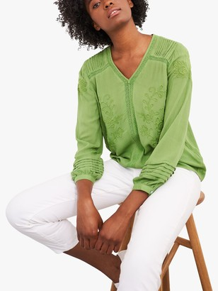 White Stuff Loren Embroidered Top, Green