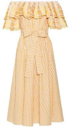 Gül Hürgel Off-the-shoulder Embroidered Cotton And Linen-blend Midi Dress