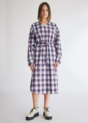 pushBUTTON Women's Pintuck Sleeved Check Shirts Dress in Violet Check, Size Small | 100% Cotton