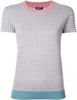 Jil Sander Navy short sleeved intarsia jumper - women - Silk/Cashmere/Wool - XS