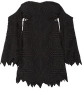 Jonathan Simkhai Off-the-shoulder Guipure Lace And Crepe Top - Black