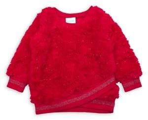 Nannette Little Girl's Embellished Faux Fur Sweatshirt