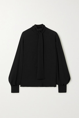 Valentino Tie-detailed Silk-crepe Blouse - Black