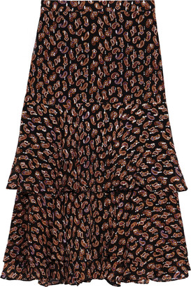 Diane von Furstenberg Meg Printed Metallic Fil Coupe Silk-blend Skirt