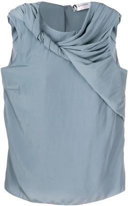 Lanvin twirled drape sleeveless blouse