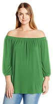 NY Collection Women's Plus Size Sld 3/4 Raglan Slv Off the Shoulder Knit Top with Bow Tie