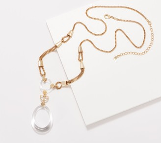 Grace Kelly Collection Simulated Crystal Oval Drop Necklace