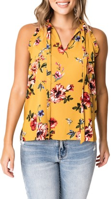 Gibson Floral Ruffle Halter Crepe Top