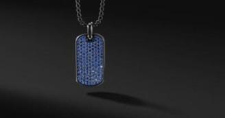 David Yurman Streamline Tag In Black Titanium With Blue Saphhires