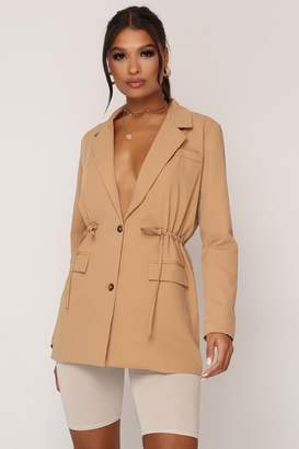 I SAW IT FIRST Camel Waist Detail Utility Blazer