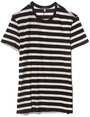 R 13 Striped Boy T in Black with Ecru
