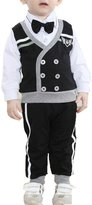ZYZF 2PCS Baby Boys Gentleman Outfits Bowtie Long Sleeves Top Pants Suit Clothes Sets (12-18 Months)