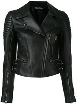 Tom Ford zipped biker jacket - women - Silk/Lamb Skin - 38