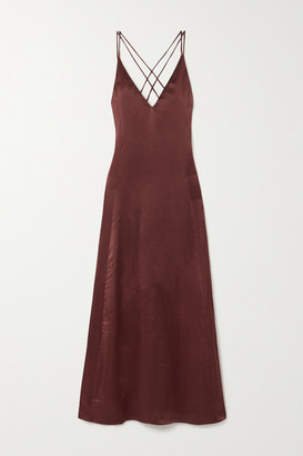 SLEEPING WITH JACQUES The Freudian Silk-satin Maxi Dress - Brown