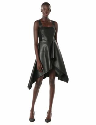 BCBGMAXAZRIA Azria Women's Faux Leather Asymmetric Dress