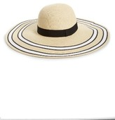 BP Women's Stripe Floppy Brim Straw Hat - Beige