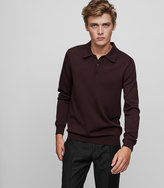 Reiss Reiss Trafford - Merino Wool Polo Shirt In Red, Mens