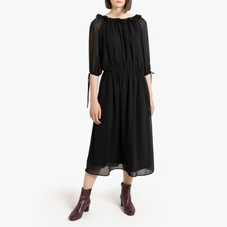 La Redoute Collections Ruffled Boho Midi Dress with Gathers