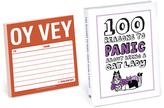 Knock Knock 100 Reasons to Panic Book & Oy Vey Sticky Notes