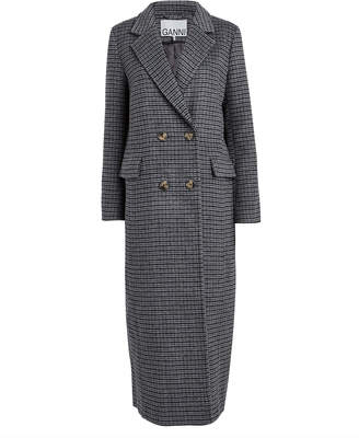 Ganni Charcoal Check Wool-Blend Trench Coat