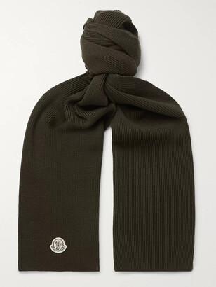 Moncler Logo-Appliqued Ribbed Virgin Wool Scarf