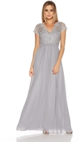 Quiz Grey And Silver Embroidered Chiffon Maxi Dress