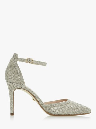 Dune Dolli Di Sparkle Mesh Pointed High Heel Court Shoes, Gold