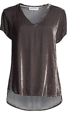 Bella Dahl Women's Velvet Stretch-Silk V-Neck Tee