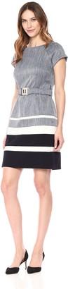 Sandra Darren Women's 1 PC Short Sleeve Denim Belted Sheath Career Dress