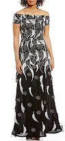 David Meister Off-The-Shoulder Embroidered Lace Gown