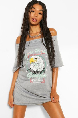 boohoo Band Print Off The Shoulder Slouchy Sweatshirt Dress