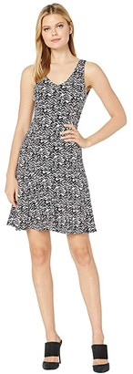 Karen Kane Seamed Fit Flare Dress (Black/White) Women's Clothing