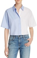 Alexander Wang Bicolor Cropped Button Down Shirt